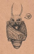 Moth Drawings - A Moth and Morning Coffee by Francene Higman