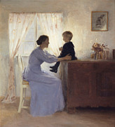 Caring Mother Paintings - A Mother and Child in an Interior by Peter Vilhelm Ilsted