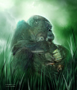 Gorilla Mixed Media Posters - A Mothers Love Poster by Carol Cavalaris