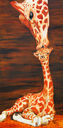 Giraffes Paintings - A Mothers Love by Chris Karem