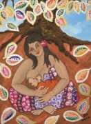 Breastfeeding Paintings - A Mothers Love by Jennifer Mourin