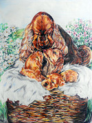 Puppies Pastels - A Mothers Love by Melanie Alcantara Correia