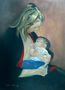 Breastfeeding Paintings - A Mothers Love by Sally Simon