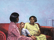 African Art Portrait Paintings - A Mothers Strength by Colin Bootman