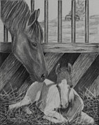 Mills Drawings - A Mothers Touch by Terri Mills