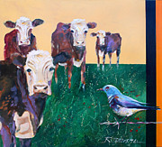 Bluebird Painting Originals - A Mountain Bluebird takes on the Herefords by Ron Patterson