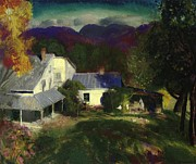 Oil Paint Framed Prints - A Mountain Farm Framed Print by George Wesley Bellows
