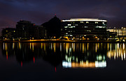 Asu Prints - A- Mountain Reflection in Tempe Town Lake Print by Dave Dilli
