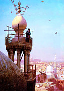 High Society Painting Prints - A muezzin calling from the top of a minaret the faithful to prayer Print by MotionAge Art and Design - Ahmet Asar