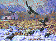 Winter Landscape Paintings - A Murder of Crows by Marguerite Chadwick-Juner
