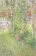 Child Posters Prints - A Nap Outdoors Print by Carl Larsson