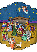 Seasonal Greeting Cards Prints - A Nativity Scene Print by Sarah Batalka