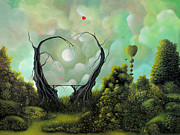 Moon Paintings - A Natural Kind Of Love. Fantasy Landscape Fairytale Art By Philippe Fernandez  by Philippe Fernandez
