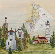 Front Range Painting Prints - A Nautical View of Baileys Harbor Front and Rear Range and Cana Island Print by Bethany Kirwen