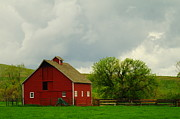 Farming Barns Photo Prints - A Neat Red Barn Near Sheridan Wyoming Print by Jeff  Swan