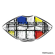 Mondrian Digital Art Posters - A Neoplasticism Tattoo on Lips Poster by Ed Hernandez
