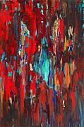 Red Green And Gold Abstracts Paintings - A New Beginning by Billie Colson