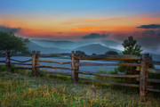 Split Rail Fence Metal Prints - A New Beginning - Blue Ridge Parkway Sunrise I Metal Print by Dan Carmichael