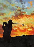 Golfer Paintings - A new dawn by Catf