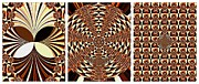 Patterned Digital Art Posters - A New Dimension - Abstract - Triptych Poster by Barbara Griffin