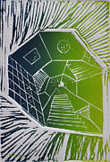 Linocut Posters - A New Dimension blue and green linocut Poster by Verana Stark