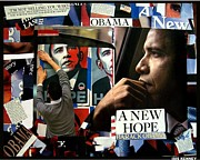 Barack Obama Mixed Media Framed Prints - A New Hope Barack Obama Framed Print by Isis Kenney