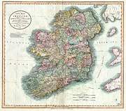 Ireland Map Digital Art - A New Map of Ireland 1799 by Digital Reproductions