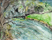 Renewal Paintings - A New Outlook   The New River Ashe County North Carolina by Elizabeth Briggs