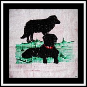Labrador Digital Art - A Newfoundland Dog and A Labrador Retriever by Barbara Griffin