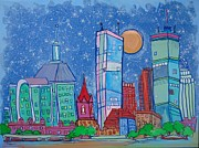 Boston Skyline Paintings - A Night in Boston by Jess Lawrence