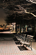 Benches Prints - A Night in Hoboken Print by JC Findley