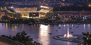Pnc Park Prints - A Night on the Rivers Print by Jennifer Grover