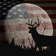 Deer Silhouette Digital Art - A Night Vision by Ernie Echols