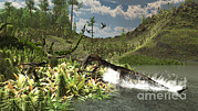 Food Chain Digital Art Posters - A Nothosaurus Catches An Unware Poster by Arthur Dorety