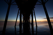 Piers Photos - A ocean pier at sunset in california by Peter Tellone