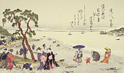 Beachcombing Framed Prints - A Page from the Gifts of the Ebb Tide Framed Print by Kitagawa Utamaro