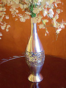 Tabletop Prints - A Painting Silver Vase on Table Print by Mike Nellums