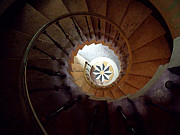 Spiral Staircase Prints - A Painting Villa Vizcaya Spiral Staircase Print by Mike Nellums