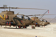 Attack Helicopters Framed Prints - A Pair Of Ah-1s Tzefa Attack Framed Print by Ofer Zidon