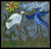 Panel Drawings Metal Prints - A pair of Birds in Paradise  Metal Print by Cathy Peterson