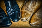 Black And Tan Prints - A Pair of Cowboy Boots Print by Paul Ward