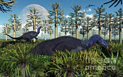 Bare Trees Metal Prints - A Pair Of Herbivorous Camptosaurus Metal Print by Mark Stevenson