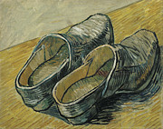 Clogs Posters - A Pair of Leather Clogs Poster by Vincent van Gogh