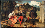 Art Of Lovers Framed Prints - A Pair of Lovers and  Pilgrim in a Landscape Framed Print by Domenico Di Bernardino Caprioli