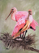 Spoonbill Paintings - A pair of Roses by Sharon Burger