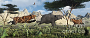 The Big Three Posters - A Pair Of Sabre-toothed Tigers Chasing Poster by Mark Stevenson