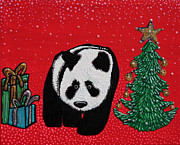 Panda Bear Paintings - A Panda For Christmas by Laura Barbosa