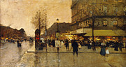 Streetlight Framed Prints - A Parisian Street Scene Framed Print by Eugene Galien-Laloue