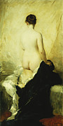 Academic Paintings - A Partially Draped Nude by Charles Chaplin