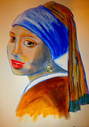 Girl With A Pearl Earring Paintings - A Pastiche of  Girl with a Pearl Earring by Rusty Woodward Gladdish